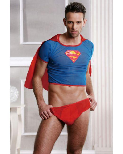 Костюм супермена красно-голубой-OS