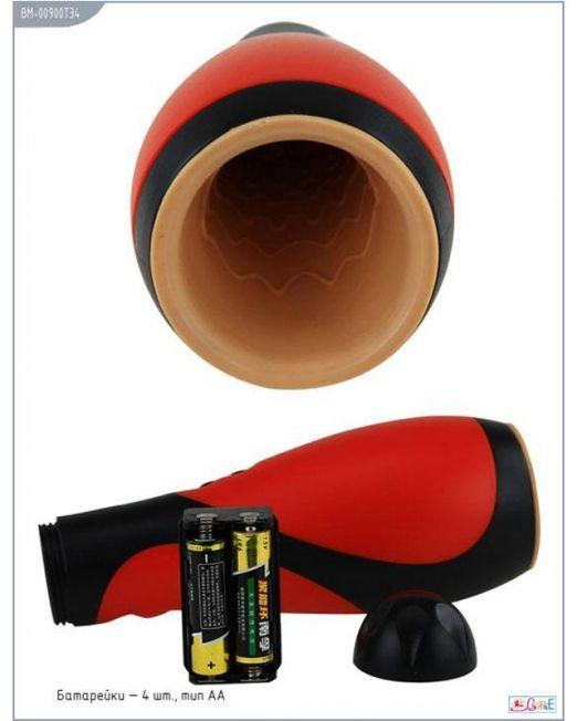 Массажёр Oral Sex Lover, 30 видов вибрации, черно-красный, 80х218 мм