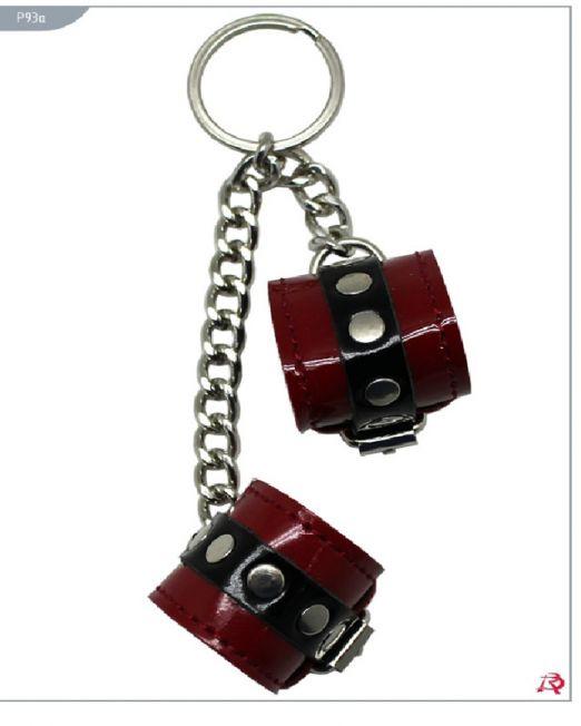 Р93а Сувенир-брелок наручники, красные