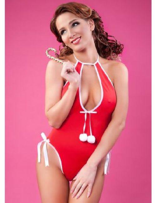 Боди новогоднее Erolanta Lingerie Collection с помпонами, красно-белое, S-L