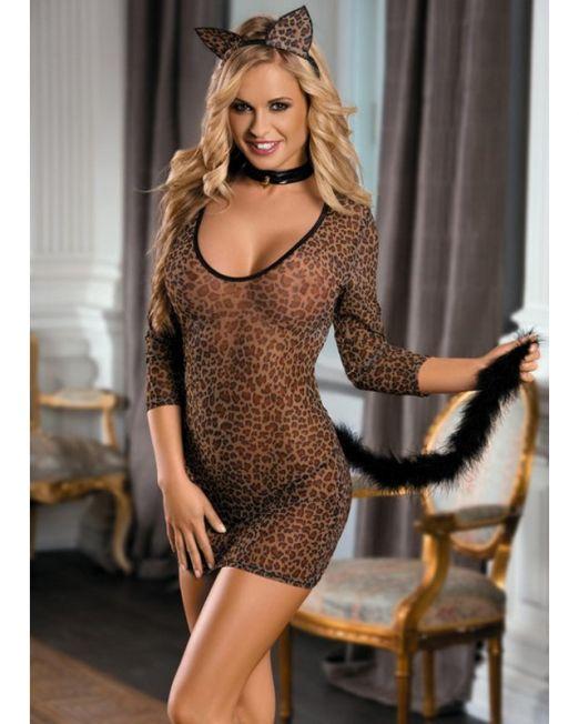2-841013 Костюм кошки. платье, стринги, галстук и ушки леопардовый-OS арт. 841013.jpg