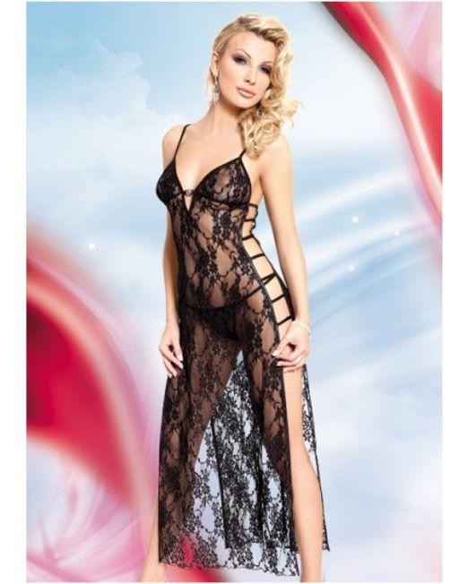 Roxie - Длинная ночная сорочка и стринги черные-S-M