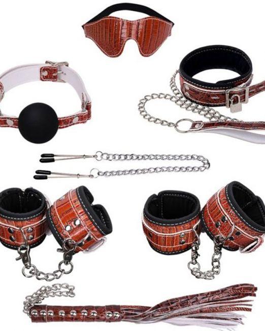 НАБОР (маска, ошейник, кляп, зажимы д/сосков, наручники, оковы, плеть) кожа, цвет коричневый арт. NT