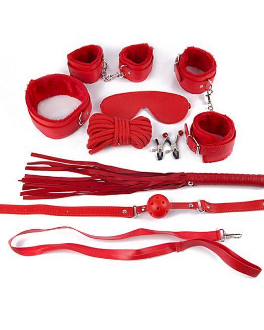 КОМПЛЕКТ (наручники, оковы, маска, кляп, плеть, ошейник с поводком, верёвка, заж