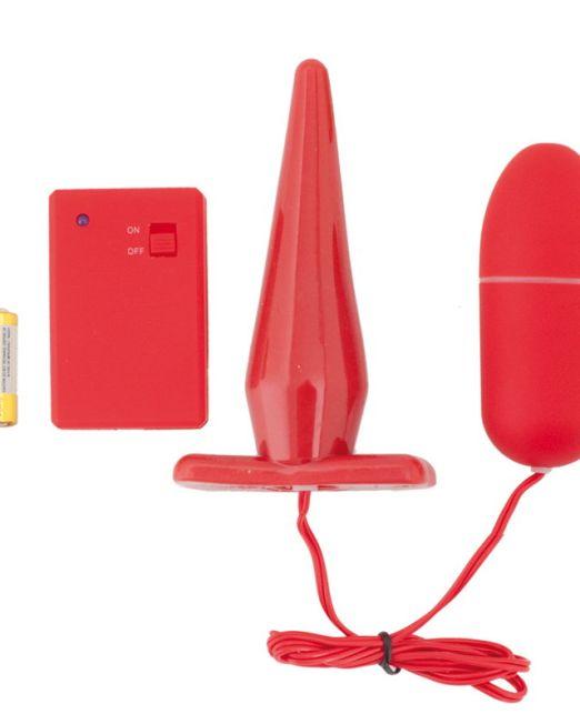 19-901311-9 Вибронабор с пультом ДУ (втулка 10,5 см+виброяйцо 8 см) красный арт. 901311-9.jpg