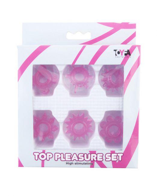 Набор колец на пенис TOYFA, ПВХ, розовый, 6 шт, Ø2 см