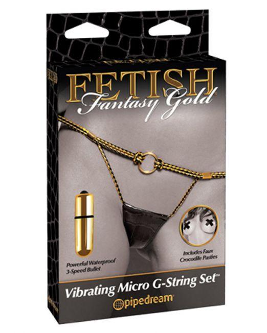 G-стринги Vibrating Micro G-String Set черные с золотом с вибрацией
