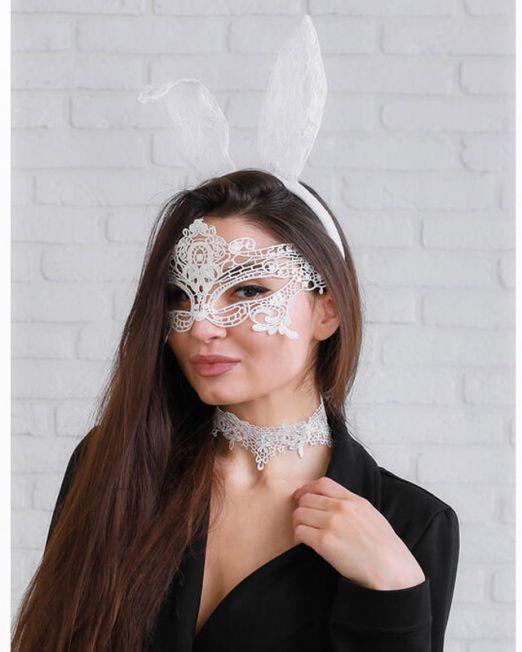 """Карнавальный костюм """"Давай поиграем?"""" ободок, ушки, чокер, маска"""