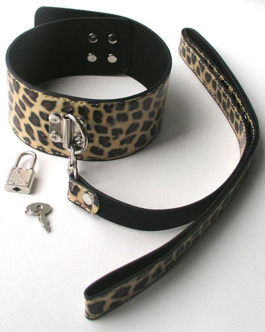 ОШЕЙНИК С ПОВОДКОМ цвет золотой леопард, (PVC) арт. MLF-90090-4