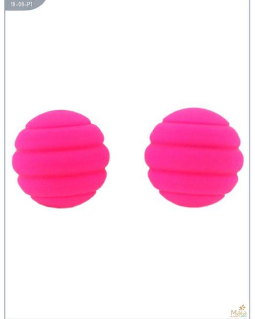 18-08-P1 Тренажер Кегеля Twistty, металлические с силиконовым покрытием, розовые, 28 мм