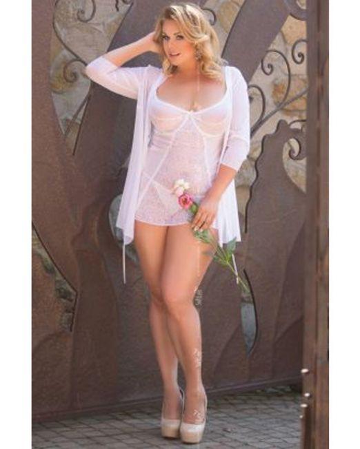 1858 220 / SLC / ЛАУРА / Ночная сорочка и стринги, цвет Белый, размер 4XL