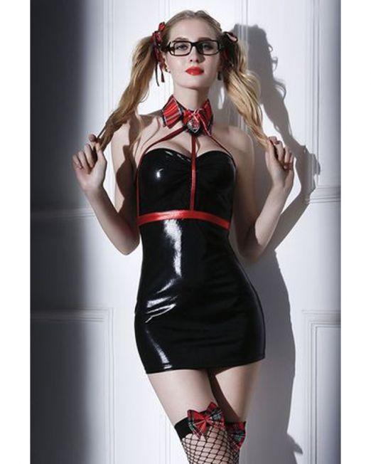 OS Костюм студентки Candy Girl Chastity (платье, стреп-топ, воротник, стринги, чулки, очки, аксессуа