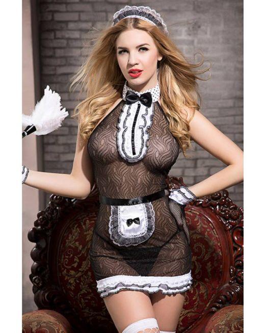 Костюм горничной Candy Girl Tiffany (комбинация, трусы, фартук, перчатки, чулки, головной убор, мете