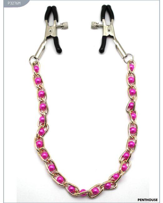 P3276M Зажимы для груди с цепочкой и розовыми жемчужинами, регулируемые, 23 г
