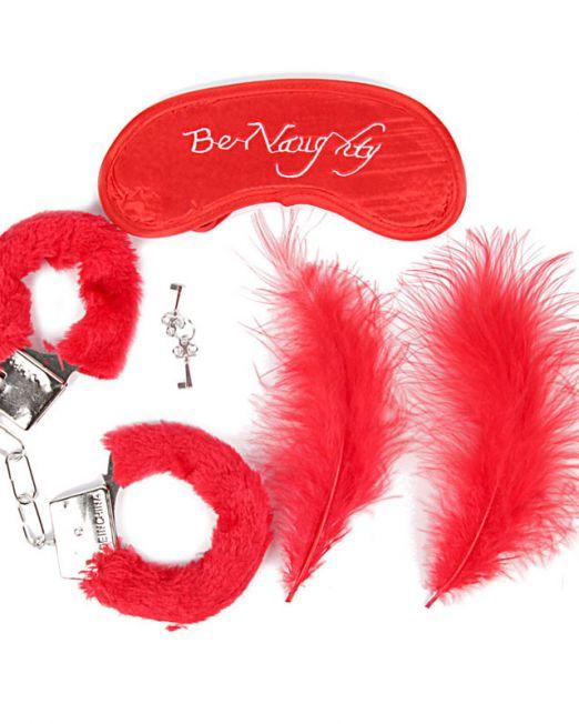 NTB-80333 КОМПЛЕКТ (наручники, маска, перо) цвет красный, металл, текстиль арт. NTB-80333.jpg